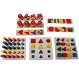 Homyl 8 Sets Baby Preschool Wooden Geometry Blocks Board For Kids Educational Cognitive Toy