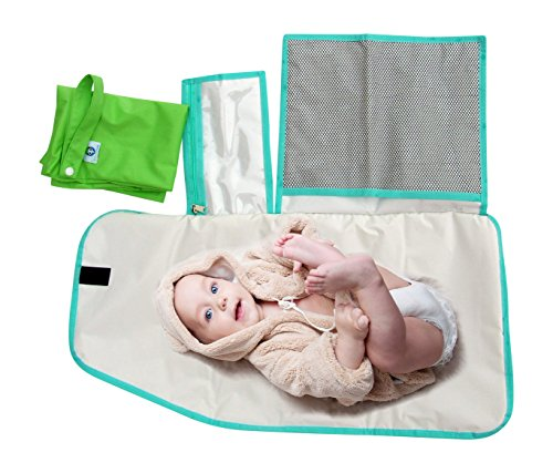 Pandaroos Portable Padded Waterproof Diaper Changing Pad and Large Wet Bag