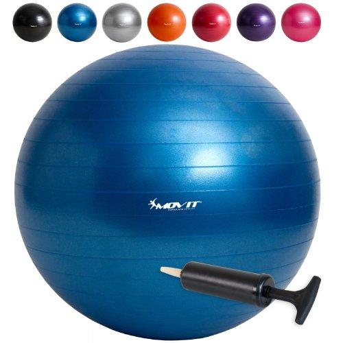 MOVIT® Gymnastikball inklusive Pumpe, 65cm bzw. 75cm, 7 Farben, Maximalbelastbarkeit bis 300kg, berstsicher