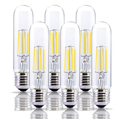 130v T10 E26 Medium Base - Dimmable 4W Tubular LED Bulb, Edison Style COB LED Filament Bulb, T10 Nostalgic Bulb, E26 Medium Base, 2700K-3000K Warm White,400LM,Clear Glass Cover, 6-Pack