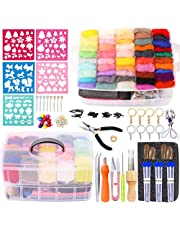 249 Pcs Needle Felting Kit - Complete Needle Felting Tools and Supplies with 50 Colors Felt Wool Roving, Felt Molds, High Density Foam Pad Storage Box for Beginner DIY Craft Animal Home Decoration