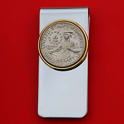 US 1976 Washington Quarter BU Uncirculated Coin Solid Brass Gold Silver Two Tone Money Clip New - High Quality - REVERSE Drummer Boy