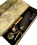 W.D Calligraphy Pen Set | Feather Pen Antique Feather Writing Goose Pen Gold Pen drywith 5 Extra Nibs | Bottled Dip Ink & Elegant Storage Case | Best