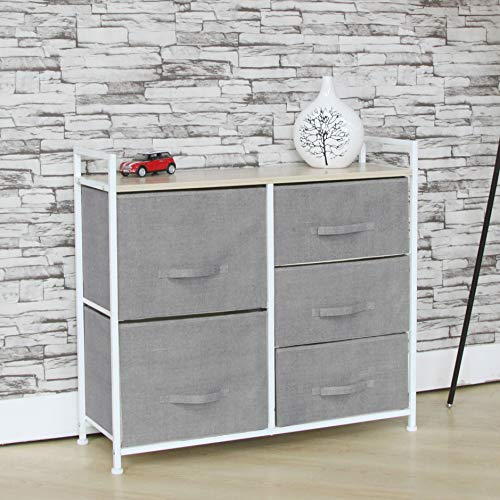 Fancy Linen 5 Light Grey Drawer Storage Chest Vertical Organizer Unit with Fabric Bins and Wood Top for Bedrooms, Hallways, Living Room, Nursery Room, Playroom and Closets New