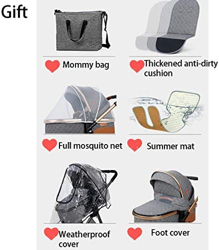 51dckr2UqhL. AC - TXTC 3 In 1 Baby Stroller Carriage Foldable Luxury Pushchair Stroller Shock Absorption Springs High View Pram Baby Stroller With Mommy Bag And Rain Cover (Color : Blue)