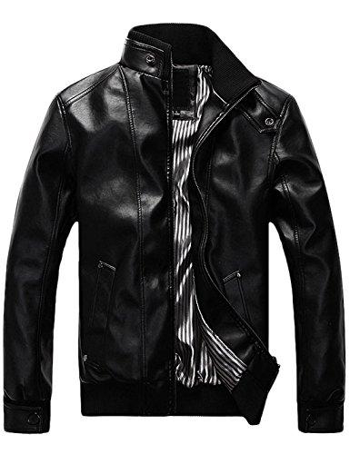 Tanming Men's Warm Stand Collar Motorcycle PU Leather Jacket Coat (Large, Cool Black TM1)