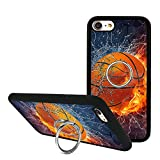 iPhone 8 Case with Phone Stand Holder, Fashion iPhone 7 Case Basketball in the Flame and Water, Cute 360 Degree Rotating Ring Grip Bumper Protective Cover for iPhone 7/8 4.7 inch