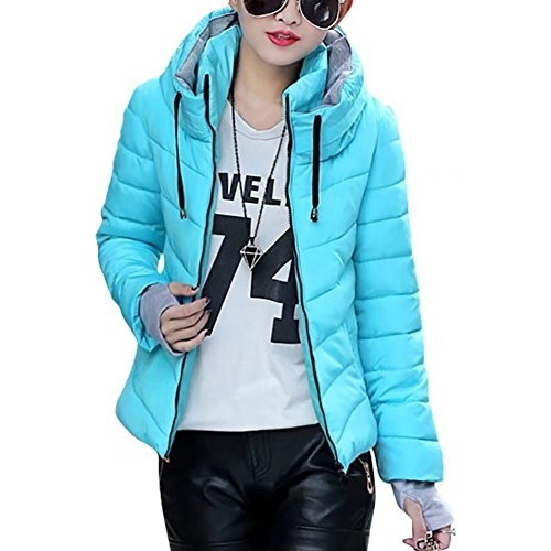De Acolchado Corta Up Azul Zip Mujeres Casual Outwear Moda Prueba Acolchada A Chaqueta Viento Invierno PwfEPZ