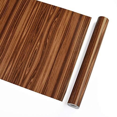 European PVC Self-Adhesive Imitation Wood Grain DIY Wallpaper Dormitory Bedroom Living Room Decoration Wallpaper Cabinet Furniture Decorative Stickers Light Brown