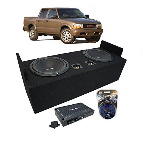 "Fits 1982-2004 GMC Sonoma Extended Cab Truck Rockford Prime R1S412 Dual 12"" Sub Box Enclosure & R250X1 Amp"