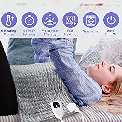 "Heating Pad,24""x12"" Large Soft Electric Heating Pad for Neck Shoulder Back Elbow Feet Abdomen Pain Relief,Dry Moist Heat Therapy Option,6 Heat Settings,4 Timer Settings,Machine Washable,Auto Shut Off"