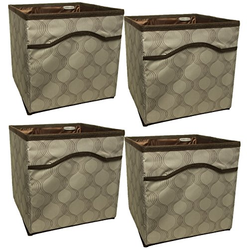 Rubbermaid (4 Pack) Collapsible Beige Canvas Basket Storage Containers Cubes Bins Folding ()
