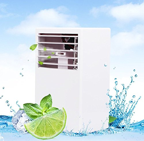 Portable Desktop Air Conditioner Fan - 9.6-inch Personal Bladeless Quiet Misting Fan Mini Evaporative Air Cooler Circulator Humidifier (White)