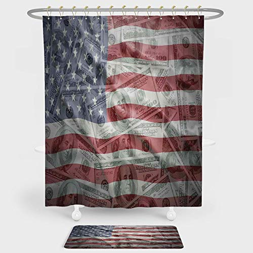 Iprint American Flag Decor Shower Curtain And Floor Mat Combination Set American Dollar On Flag Money Currency Exchange Value Global Finance Idol For Decoration And Daily Use Multi