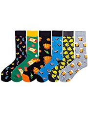 TFun 6 Pairs Men's Fashion Funky Novelty Cool Colorful Design Comfort Cotton Casual Dress Crew Socks