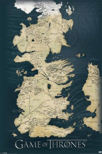 Game Of Thrones   Tv Show Poster  Map Of The 7 Kingdoms   Size  24  X 36    Poster   Poster Strip Set   By Poster Stop Online