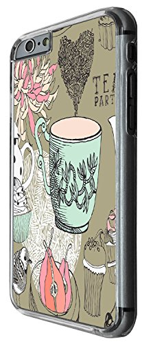 1377 - Cool Fun Trendy cute kwaii shabby chic tea party flowers cup cake Design iphone 6 6S 4.7'' Coque Fashion Trend Case Coque Protection Cover plastique et métal - Clear