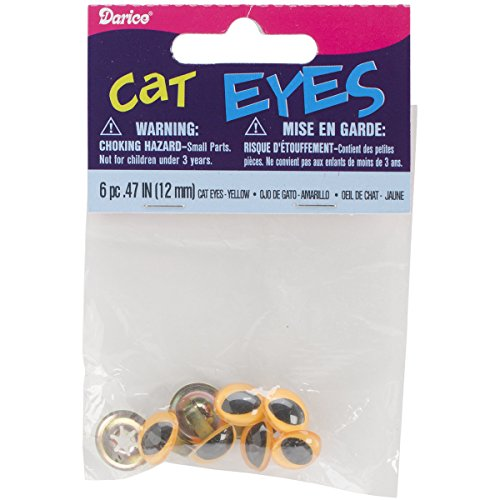 Darice 51212-01 Cat Eyes with Metal Washer, Yellow