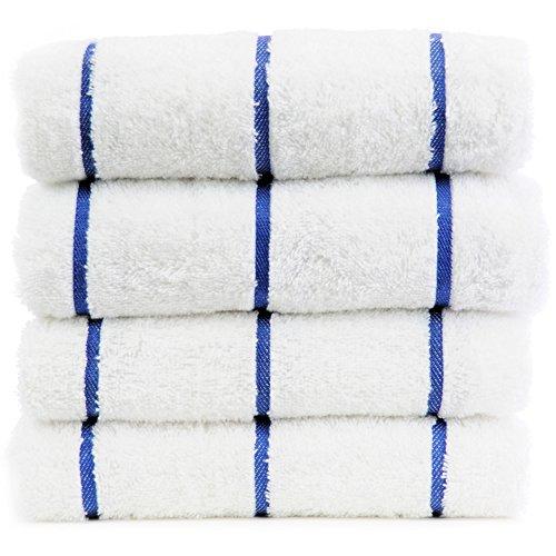 Luxury Hotel & Spa Towel Turkish Cotton Pool Beach Towels - Royal Blue - Striped - Set of 4