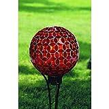 Carson Red Mosaic Gazing Ball Home Decor