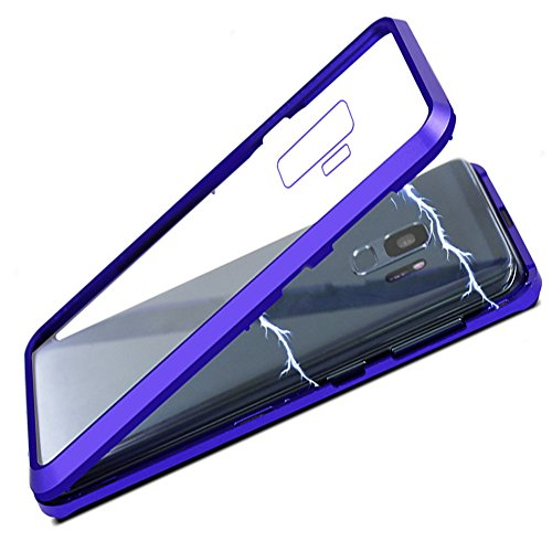 Cover Samsung Magnet - Galaxy S9 Plus Case, HONTECH Full Body Ultra Thin Magnetic Adsorption Aluminum Alloy Tempered Glass with Built-in Magnet Flip Cover for Samsung Galaxy S9plus S9+, Clear Blue