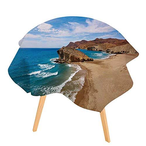 (PINAFORE 100% Polyester Printed Table Almeria Playa del Monsul Beach at Cabo de Gata in Spain for Home, Restaurants, Cafés 63