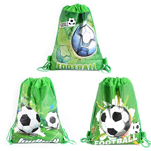 CIEOVO 12 Pack Soccer Party Favor Goodie Bags, Treat Gift Drawstring Bag Football Backpack Birthday Party Decoration Supplies for Kids Boys Girls Baby Shower Birthday Party]()