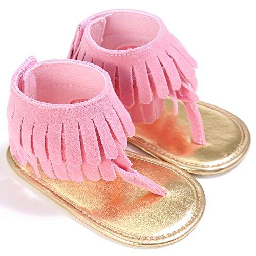 BOBORA Bebe Ninas Sandalias Borla Mate PU Bebes Zapatos De Verano rosa