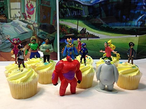 Big Hero 6 Deluxe 12 Piece Cupcake Topper Set Featuring 6 Big Hero Party and 2