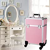 BATHWA 2 Tier Aluminum Rolling Makeup Case Salon Cosmetic Organizer Trolley Train Case Pink US STOCK