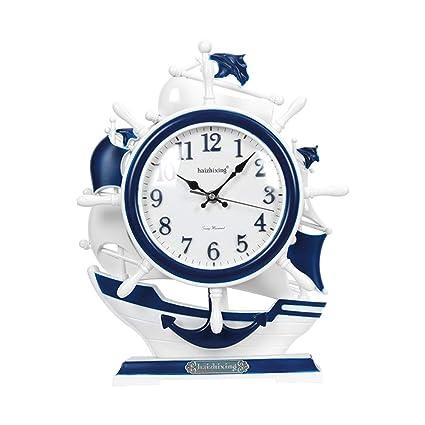 SJZC Reloj Retro Europeo Creativo Reloj De Escritorio TimóN Relojes Decorativos Oficina DecoracióN Reloj Artesana,