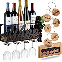 Wall Mounted Wine Rack | Bottle & Glass Holder | Cork...