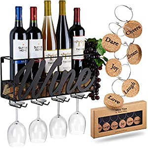 Wall Mounted Wine Rack – Bottle & Glass Holder – Cork Storage – Store Red, White, Champagne – Comes with 6 Cork Wine Charms – Home & Kitchen Décor – Designed by Anna Stay, Wine