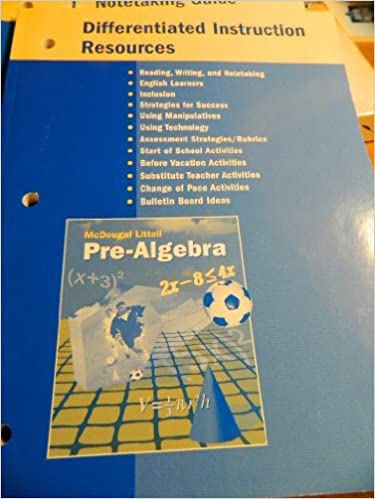Amazon Mcdougal Littell Pre Algebra Differentiated Instruction
