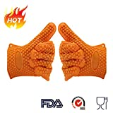 StarryBay Silicone Heat & Cold Resistant (-40°F to 425 °F) Mitts for Kitchen Cooking, Baking, Barbeque, Grilling Non-slip Gloves for Nice Grip,Set of 2 (Oven-Gloves-Orange)