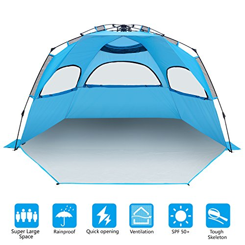 BATTOP 4-5 Person Instant Beach Tent Sun Shelter - Easy Pop Up Sun Shade for Beach - Deluxe X-Large for Family Compact Pop Up
