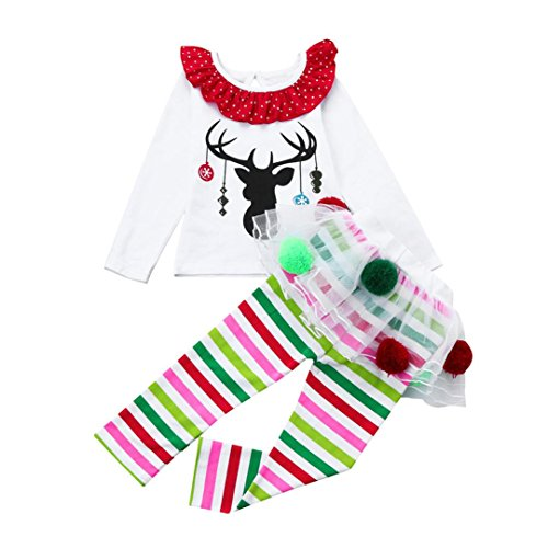 [Kids Baby Girl Deer T shirt Tops+Striped Tulle Tutu Pants Christmas Outfits Set (100/3T, White)] (Minnie Mouse Outfit Ideas)