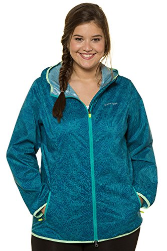 Ulla Popken Women's Plus Size Abstract Print Rain Jacket 714600 Sapphire Blue Multi