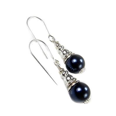 48dee77d2 Sterling Silver Dark Navy Blue Pearl Short Drop Earrings for June Birthstone:  Amazon.co.uk: Jewellery