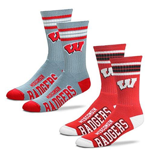 For Bare Feet Men's 4 Stripe Deuce Crew Socks-Wisconsin Badgers-Large-2 Pack - Wisconsin Badger Logo Watch
