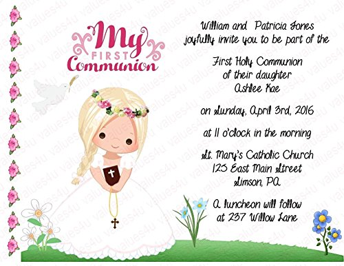 Personalized Communion Invitations (communion girl1014) (sold in packs of 12)