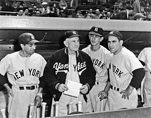 New York Yankees Phil Rizzuto, Billy Martin, Casey Stengel and Yogi Berra 8x10 Picture Photo. 1950 MF