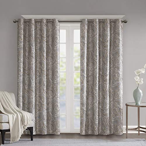 Blackout Curtains For Bedroom , Traditional Grommet Taupe Window Curtains For Living Room Family Room ,  Jenelle Paisley Therma Black Out Window Curtain For Kitchen, 50X95
