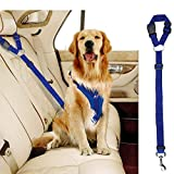 Docamor Adjustable Dog Seat Belt Dog Harness Pet Car Vehicle Seat Belt Pet Safety Leash Leads Dogs/Cats Adjustable From 18 To 30 Inch Nylon Fabric Material Carnation (Blue-1Pack)