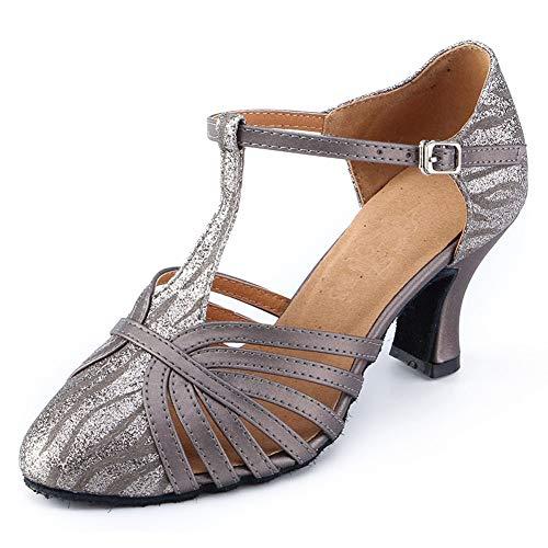 Honeystore Women's Glitter Sequin Ballroom Dance Shoes Latin 1920s Mary Jane Prom Salsa Performance Grey 7.5 B(M) US