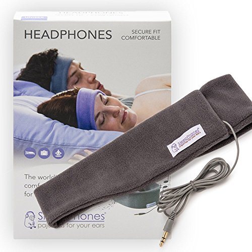 SleepPhones Classic Headphones | Ultra Thin Speakers in Lightweight & Comfortable Headband | 4 Foot Braided Cable Connects to Audio Devices | Best for Insomnia | Soft Gray - Fleece Fabric- X-Small (XS) Binaural Headphone