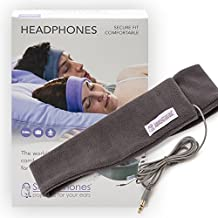 SleepPhones Classic Headphones | Ultra Thin Speakers in Lightweight & Comfortable Headband | 4 Foot Braided Cable Connects to Audio Devices | Best for Insomnia | Soft Gray - Fleece Fabric | Medium