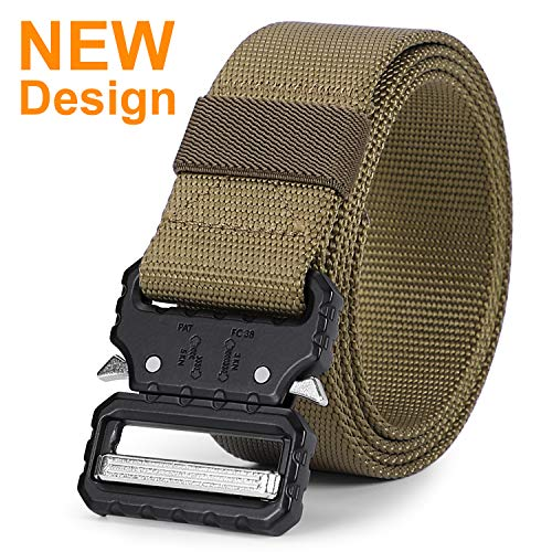 (WERFORU Tactical Belt, Military Style Webbing Riggers Nylon Belt with Heavy-Duty Quick-Release Metal Buckle 1.5