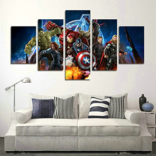 AtfArt-5-Piece-Miracle-Avenger-Ultron-Super-Hero-Canvas-Painting-for-Living-Room-Home-Decor-Canvas-Art-Wall-Poster-No-Frame-Unframed-HB32-50-inch-x30-inch