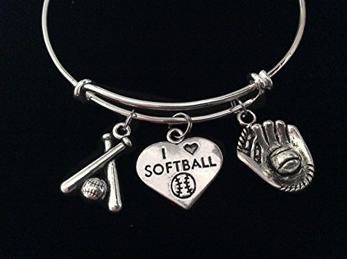 I Love Softball Bats Mitt Glove Expandable Charm Bracelet Adjustable Bangle Sports Team Coach Gift ()